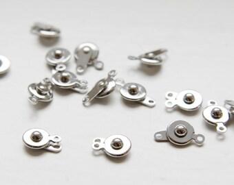 10 pcs White Gold Tone Brass Base Button Clasp - 7.5mm (1052) (I-361)