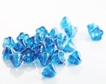 30 Pieces Czech Bell Flower - Capri Blue 8x6mm (6008) (L-212)