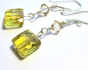 Genuine Citrine gemstone and Swarovski Elements crystals on Sterling Earrings, lemon yellow gemstone earrings