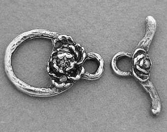 Green Girl Studios Sterling Silver Tiny Rose Toggle Clasp