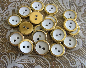 20 White Gold Rimmed 2 hole Buttons 1/2 inch