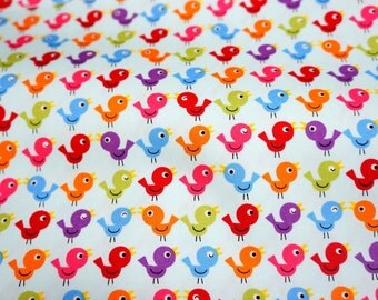 Japanese fabric  birds print soft blue background  nc12