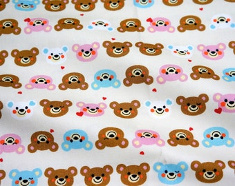 Bear and Sweets print Japanese fabric A2