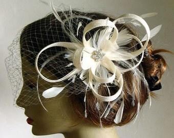Ivory sinamay bridal fascinator - wedding headpiece - ivory wedding hat