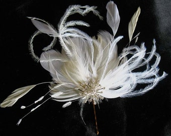 White ivory bridal starburst feather pin - jewelled feather fascinator - wedding hair clip
