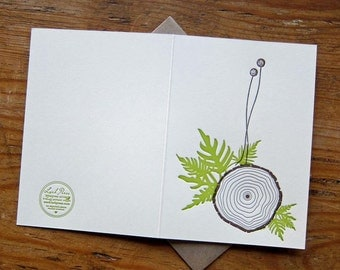 lark press letterpress tree rings greeting card with ferns