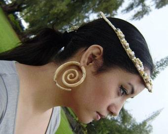 Fake Gauges Earrings,tribal style,hand carved,wood Earrings ,Tribal Expander Split,organic XXL