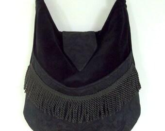 Black Velvet Gypsy Bag Messenger Bag Bohemian  Renaissance bag Medieval bag Shoulder Bag/ Cross body
