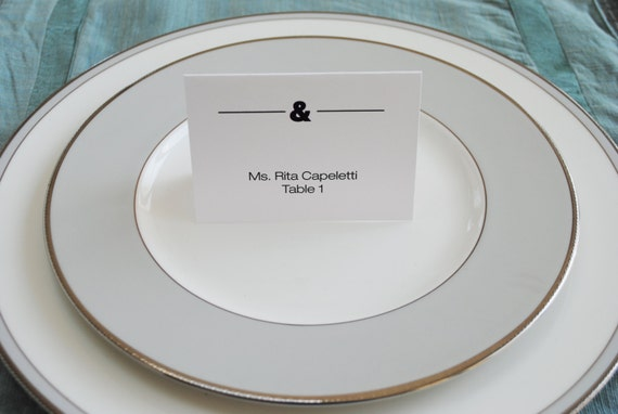 Ampersand Wedding Place Cards   Ampersand Escort Card   Ampersand Name Card   Jessica and Michael