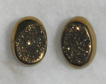 2 gold Titanium Drusy oval cabochons, 18.41 carats total weight                            096-10-006