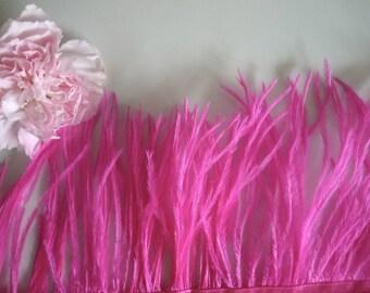 PICCOLO OSTRICH Fringe, Neon Hot Pink  /  2093