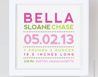 New size - 12x12 Modern Typography Birth Print / Adoption Print / Baptism Print - you choose your colors