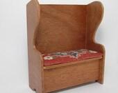 Dollhouse Miniature 1/12 Scale Handmade Mahagony Settle Bench with Hand-Stitched Cushion