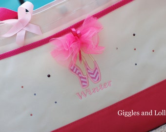 Girls personalized dance bag tote with dance shoes and name flower girl tote chevron