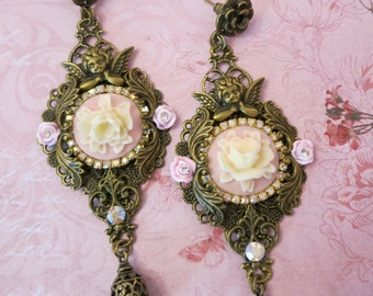 Pink victorian cameo earrings