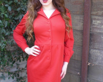 Vintage Red 60's Knit Dress. Leslie Faye Knits. Mod. Mad Men.
