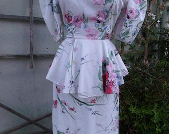 Vintage 80's White Day Dress. Soft floral Dress. Spring. Summer Dress