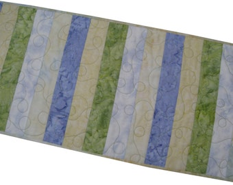 Quilted Table Runner in Muted Tone Batiks