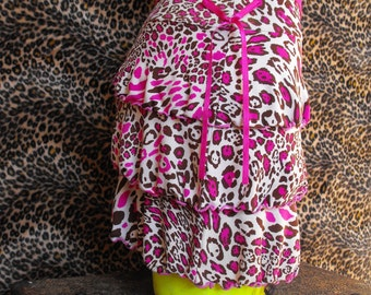 Neon Pink Leopard Print Mini Skirt Upcycled Fabric Size XS