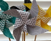 Reserved 12 CHEVRON Aqua Large Wedding Pinwheels