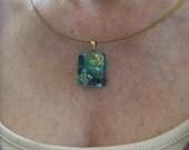 Dichroic glass pendant  - multi-layered dichroic glass - pink, purple, blue, yellow, green