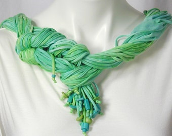 The Soba Scarf in Lime and Turquoise