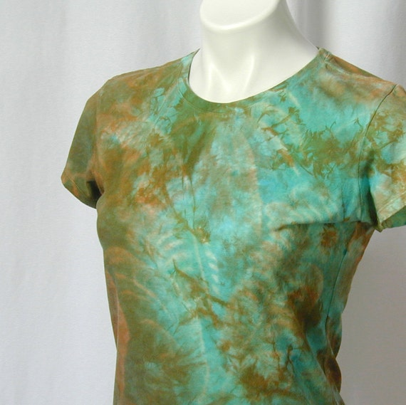 Tropical Paradise in Turquoise and Copper Bamboo Tee (small)