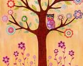 Original Painting, Sleepy Owl in Flower Tree Collage Painting, Children Decor, Owl Nursery Decor