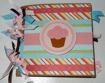 CUPCAKE Premade 6x6 Paperbag Scrapbook Album - Birthday Baby Girl