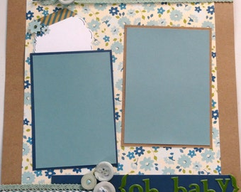 OH BABY 12 x 12 premade scrapbook page - baby boy girl