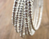 Memory Wire Bracelet: Bright Silver Beaded Adjustable Memory Wire Wrap Bangle, Spark