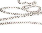 10 Ft Chain, Silver, Jewelry making supply, Small oval Twist Chain