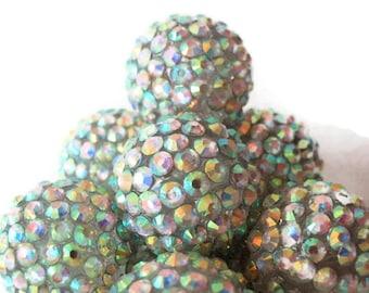 6 Basketball Wives, Extra Large Aurora Borealis Rhinestone Beads, Jewelry Making Supply, 20 mm,