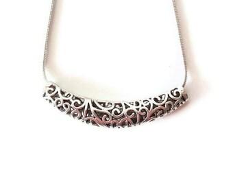 3 Tibetan Antique Silver Curved Tube Bead, Jewelry making Supply, Filigree, Lead Free, Nickel Free