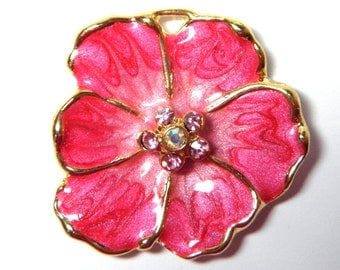 Sale! - Vintage Pink Enamel Pendant with Swarovski Crystals (F132)