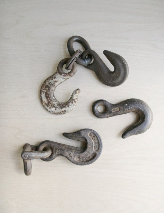 sale: metal farm hooks / set of four