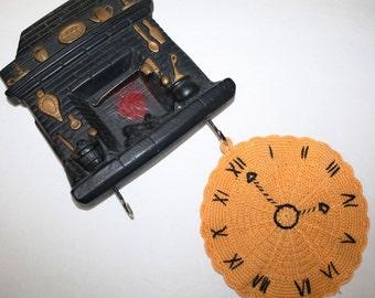 Vintage, Rare, Kitchen Chalkware Fireplace, POT Holder Holder Plaque & crochet Clock Potholder