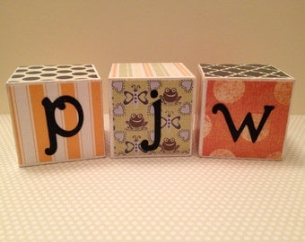 Personalized Wooden Blocks- 2x2 Cube-Set of 3