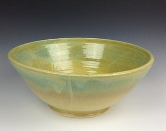Summer Green and Yellow Large Serving Bowl
