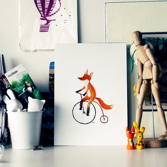 Cycling fox print - A4, bicycle art