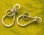 Sterling Silver Hook and Clasp - 20 Gauge Wrapped Handmade, Sold in Quantities of 2 Clasps