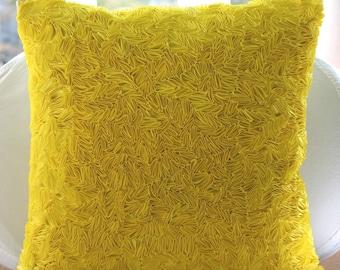 """Handmade Yellow Throw Pillows Cover, 16""""x16"""" Silk Throw Pillows Cover, Square  Textured Ribbon Pillowcases - Yellow Sunshine"""