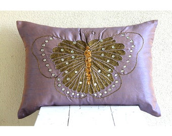 Decorative Oblong / Lumbar Rectangle Throw Pillow Covers Accent Pillow Couch Toss 12x16 Purple Silk Pillow Case Bead Embroidered Butterfly