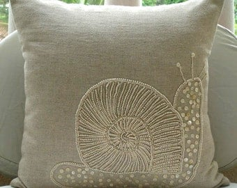 "Ecru Decorative Pillow Cover, 16""x16"" Square Cotton Linen Pillow Covers - Snail Pearls"