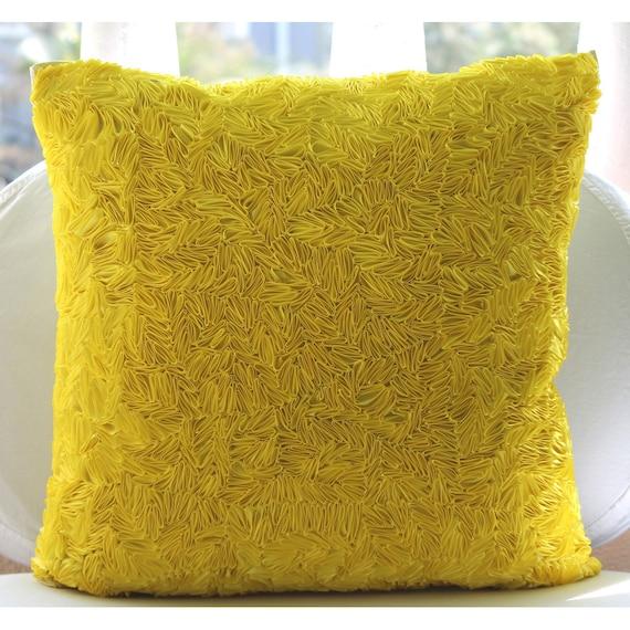 Handmade Yellow Throw Pillows Cover 16x16 Silk