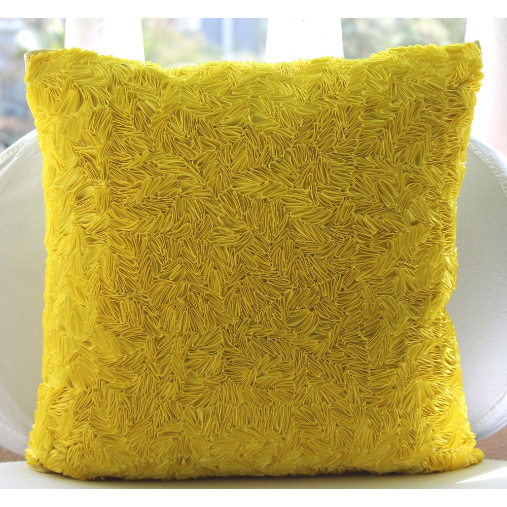 Throw Pillow Yellow : Handmade Yellow Throw Pillows Cover 16x16 Silk