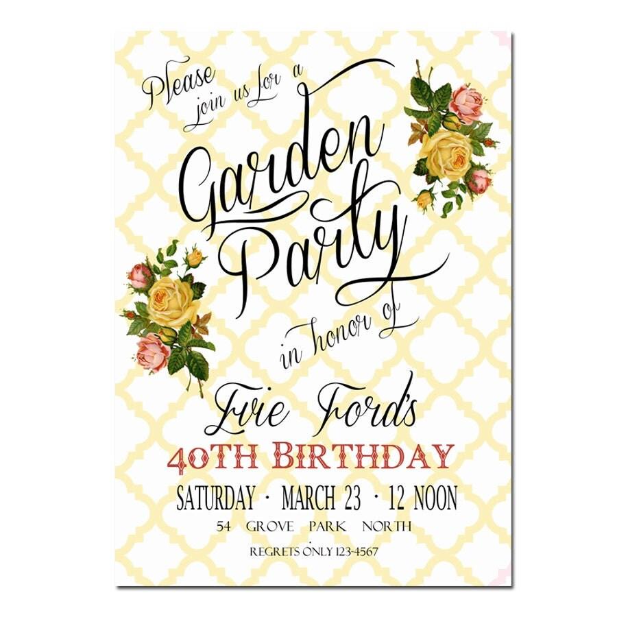 Garden Party Invitation Bridal Shower Invitation Digital