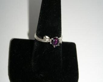 "Deep Velvett Purple Cubic Zirconian in Sterling Silver ""Ribbon"" Ring"