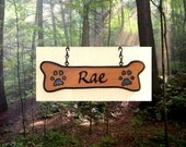 Dogbone Addon - Custom Carved Redwood Sign Addon - Dogbone with Pawprints