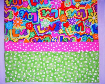PEACE AND LOVE  Personalized Monogrammed Pillowcase Hand made Standard Size